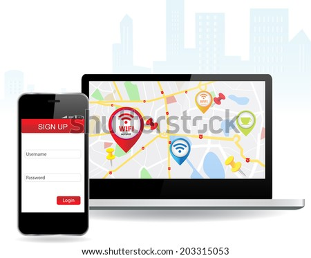 Smart Phone and laptop with wi-fi connection Wifi Wireless Internet Online  - stock vector