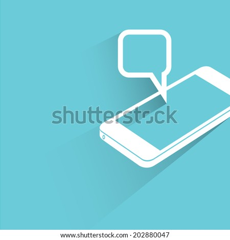 smart phone and pop up message, blue shadow and flat theme - stock vector