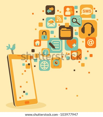 Smart phone and social, media, web icons - stock vector