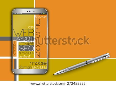 Smart phone and web concept design - stock vector