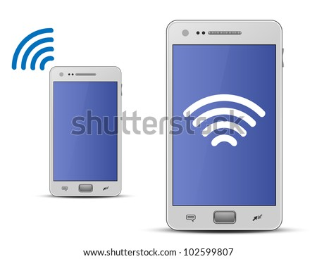 Smart phone and wireless technology. Wireless concept. Vector illustration - stock vector