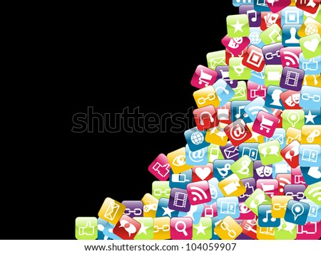 Smart phone app icon set isolated over black background. Vector file layered for easy manipulation and customisation. - stock vector