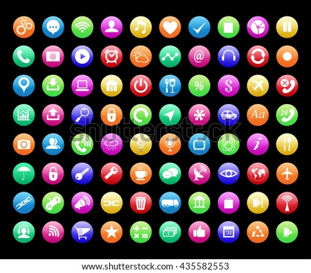 Smart phone app icon set . Vector file layered for easy manipulation and customisation. - stock vector