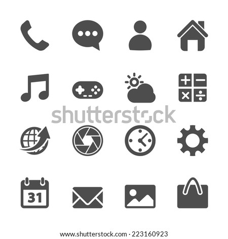 smart phone application icon set, vector eps10. - stock vector