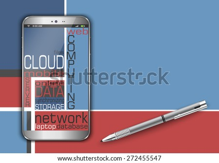 Smart phone as cloud computing concept design - stock vector