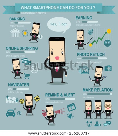 Smart phone business info graphic vector cartoon. - stock vector