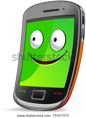 Smart phone character.  The series of the cute electronic characters in vector. - stock vector