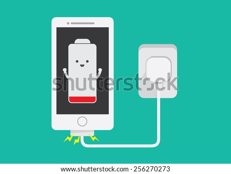 Smart phone charging battery in flat cartoon version - stock vector