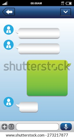 Smart phone chat bubbles with blank text. Sms messages. Speech bubbles. Short message service bubbles. - stock vector