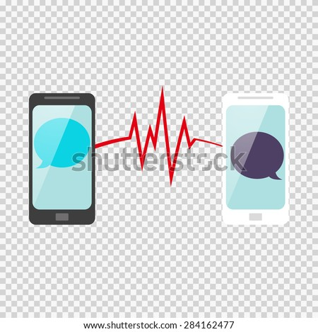Smart Phone chatting sms template. heartbeat connection. connect - stock vector