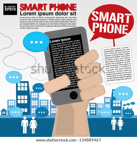 Smart phone communicated conceptual illustration vector.EPS10 - stock vector