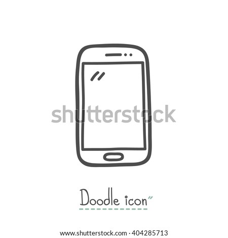 Smart Phone. Hand Drawn Doodle Icon. - stock vector