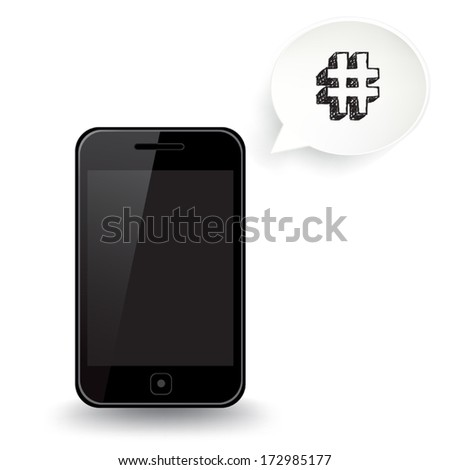 Smart Phone Hash Tag - stock vector