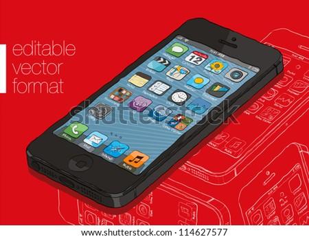 smart phone illustration. - stock vector