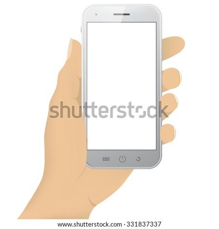 Smart phone in hand - stock vector