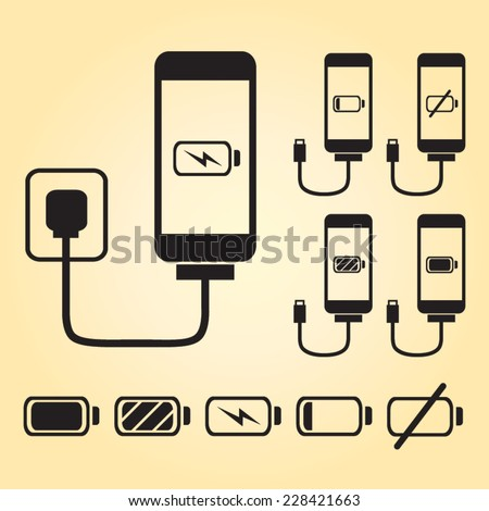 Smart phone / iPhone charge with battery indicator level in black - stock vector