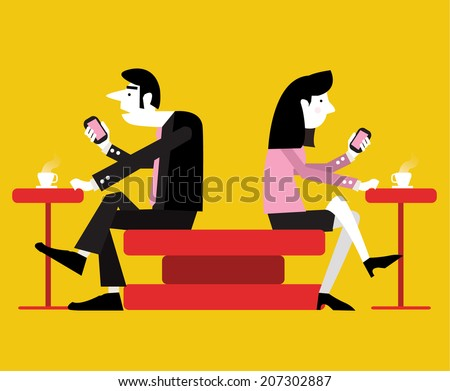 Smart phone mania. modern life concept. character design. flat vector illustration - stock vector