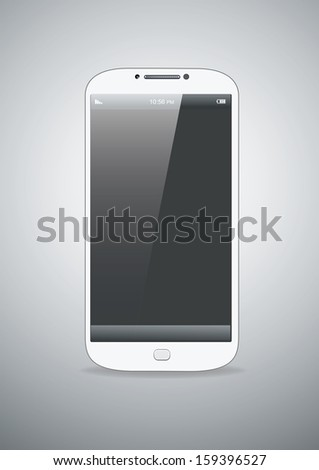 Smart-phone mock-up  white on the grey background. - stock vector