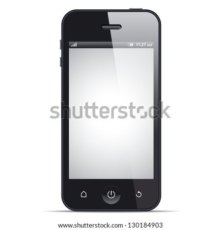 Smart phone, realistic vector illustration. This file is EPS10 vector and it includes transparency effects. - stock vector