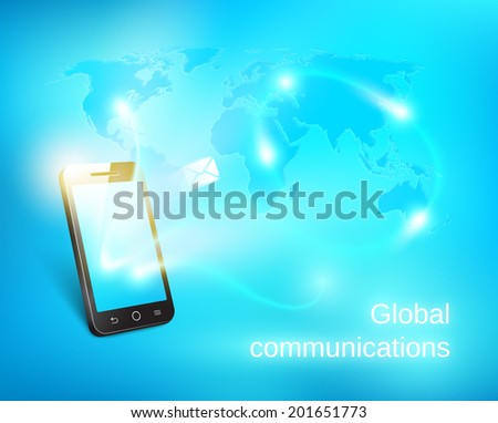 Smart phone sending out message on blue world map background - stock vector