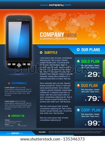 Smart Phone Telecom Provider Brochure detailed vector - stock vector