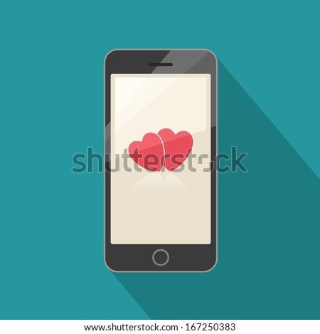 Smart phone valentine - stock vector