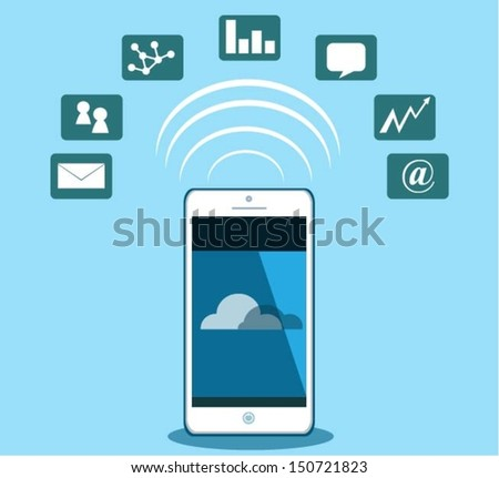Smart phone .Vector eps10 illustration. - stock vector