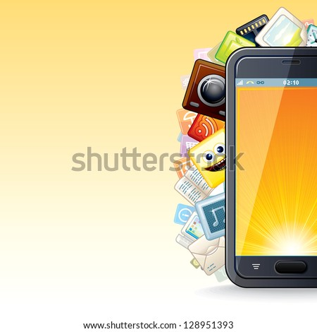 Smart Phone with Apps. Smartphone with Cloud Of Application Icons over Light Background. Vector with Free Space for Your Text and Design. - stock vector