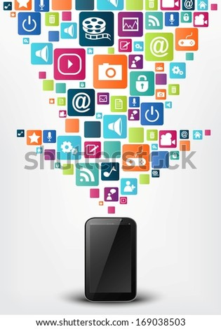 Smart phone with arrow social media icons - stock vector