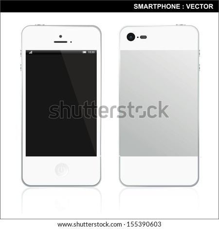 Smart Phone With Blank Screen Isolated  - stock vector