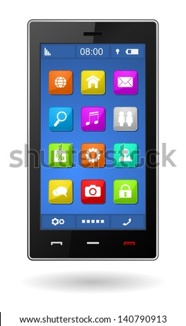 smart phone with buttons and icons - stock vector