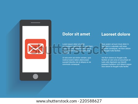 Smart phone with Email symbol on the screen. Using smartphone similar to iphone, flat design concept. Eps 10 vector. - stock vector