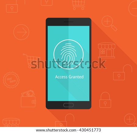 Smart phone with fingerprint privacy security access  - stock vector