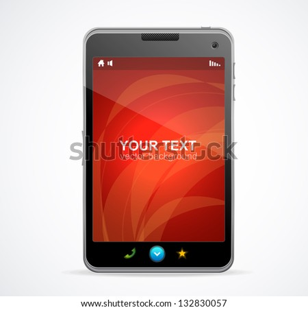 Smart Phone With red screen and text - stock vector