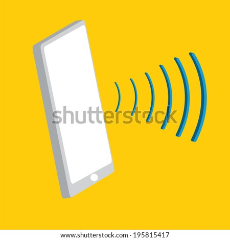 Smart Phone with sound waves. - stock vector