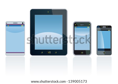 Smart phones and digital Tablet. Cellphone and tablet are fictitious generic design. - stock vector