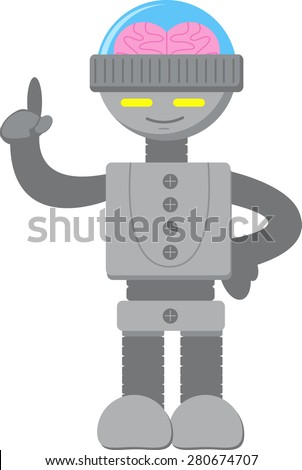 Smart Robot Thinking - stock vector