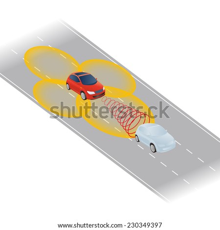 smart, safety or autonomous car vector illustration - stock vector