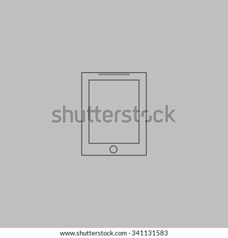 Smart tablet. Outlne vector icon on grey background - stock vector