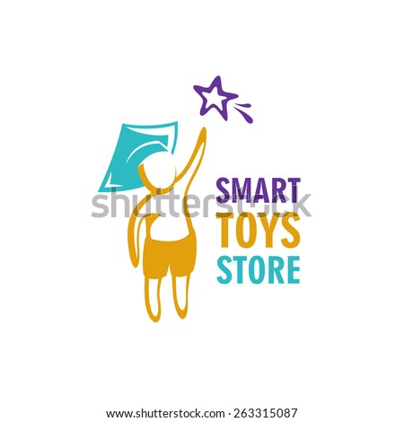 Smart toys store logo idea template. Kid in a graduation hat reaching for the star. - stock vector