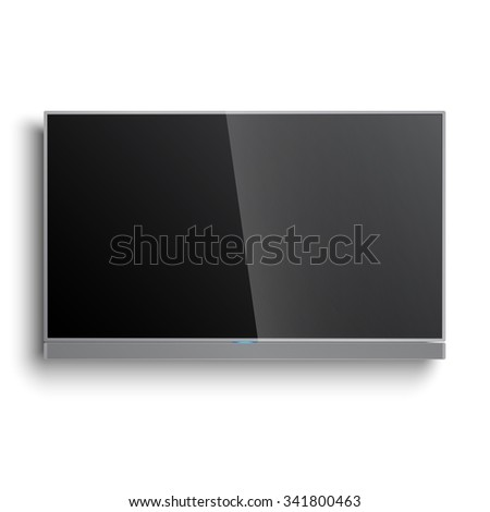 Smart TV Mock-up, Vector TV Screen, LED 4K TV with sound bar hanging on the wall - stock vector