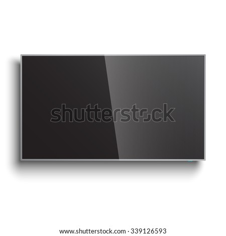 Smart TV Mock-up, Vector TV Screen, LED TV hanging on the wall  - stock vector