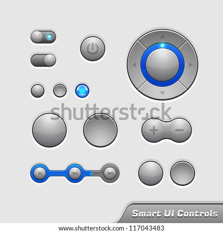 Smart UI Controls Web Elements 1: Buttons, Switchers, On, Off, Player, Audio, Video: Player, Volume, Equalizer, Bulb, Preloader, Loader, Power Button - stock vector