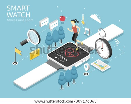 smart watch-fitness and sport concept in flat 3d isometric graphic  - stock vector