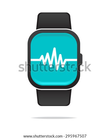 Smart Watch Heart Rate Icon - stock vector