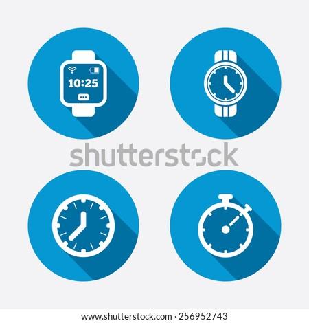 Smart watch icons. Mechanical clock time, Stopwatch timer symbols. Wrist digital watch sign. Circle concept web buttons. Vector - stock vector