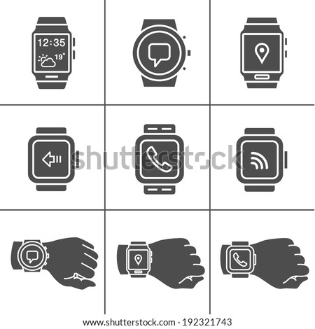 Smart watch icons. Vector illustration. Simplus series - stock vector