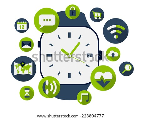 Smart watch illustration with lots of application icons - stock vector