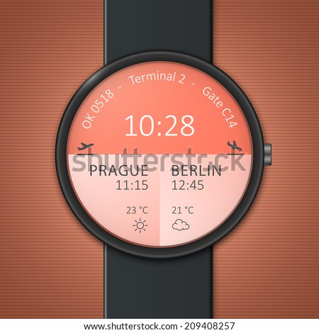 Smart watch interface template. Airport arrivals and departures smartwatch mockup. Vector illustrations - stock vector