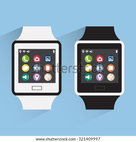 Smart watch interface with web icons, business icons and technology icons, Vector Illustration EPS 10. - stock vector